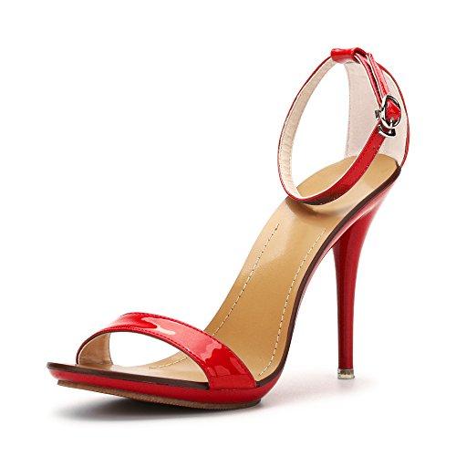 Ochenta Klassische Damen-Tanz-Stilettos, Highheels, offene Zehen, Knöchelriemen, Sandalen, rot - Rot - Größe: 42 EU