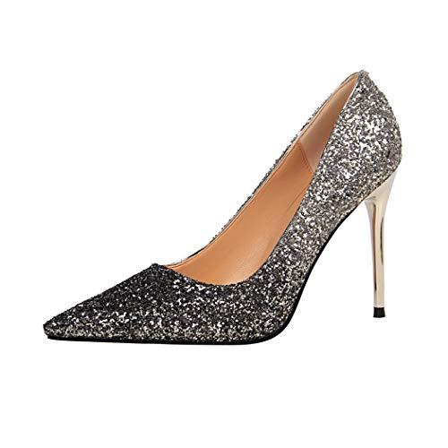 Zapatos de tacón Alto con Lentejuelas para Mujer, Zapatos de Noche, Color, Talla 34 EU Schmal