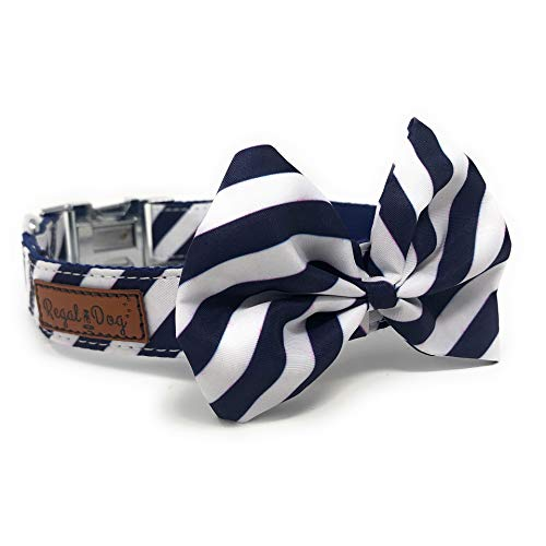 Regal Dog Products Hundehalsband mit Fliege, passend für XS, S, S, M, L, Hund, Katze, Welpen, lustige Geburtstags-Idee - Smoke Dog, Medium, Navy/White Seersucker Navy Seersucker