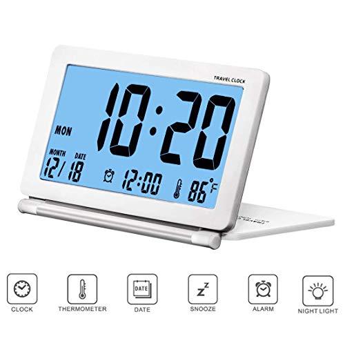 Analoge Lcd (Kleiner Digital-Wecker Reisewecker Faltbare Hintergrundbeleuchtung, LCD-Anzeige Wecker mit Datum, Temperatur, Snooze wiederholen und Pu-Lederetui von CESHUMD)