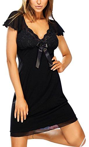 R-dessous nuisette exclusive chemise de nuit pour femme avec bretelles en viscose chemise de nuit utiles sheer babydoll nuit Noir - Noir