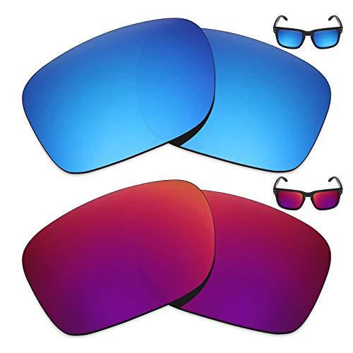 MRY 2Paar Polarisierte Ersatz Gläser für Oakley Holbrook Sonnenbrille-Reiche Option Farben, Ice Blue & Midnight Sun