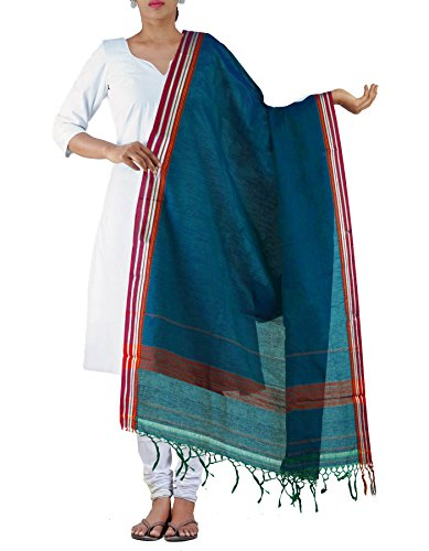Unnati Silks Women Blue Pure Handloom Mangalagiri Cotton Dupatta