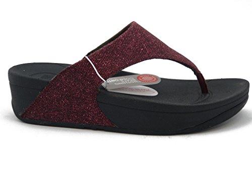 FitFlop, Sandalo infradito in tessuto metallizzato rosso, suola in gomma ammortizzante-superelectra A86-243 Cherry