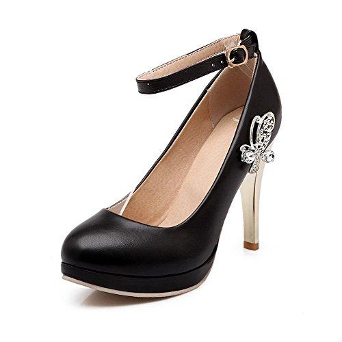 VogueZone009 Femme Pu Cuir Couleur Unie Boucle Fermeture D'Orteil Rond Stylet Chaussures Légeres Noir