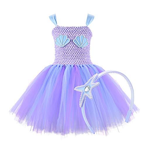 NSSONBEN Meerjungfrau Tütü Kleid Mädchen Tüll Tütü Lila Kinder Mermaid Baby Tütü Mädchen mit Stirnband für Geburtstagsfeier, Cosplay, Hochzeit,Halloween(5-6T)
