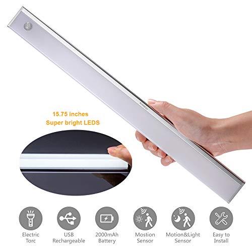 Innen-anzeigen-beleuchtung (led Schrankbeleuchtung,led unterbauleuchte batterie mit Bewegungsmelder USB Wiederaufladbare kabinett beleuchtung schrank lampen innen Kaltweiß 3-MODI)