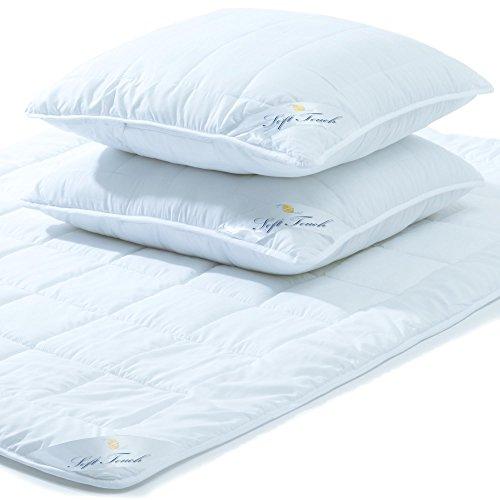 aqua-textil Bettdecken Set Ganzjahresdecke 200x220 inkl. 2X Kopfkissen 80x80, Steppdecke für Winter und Sommer, Mikrofaser Steppbetten-Set, Öko Tex, Waschbar 95 Grad, Soft Touch 2000023 (Aqua-duvet-set)