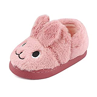 MK MATT KEELY Boys Girls Cartoon Rabbit Slippers Toddler Winter Warm Plush Shoes Kids Sliders Deep Pink Rabbit 9/10.5 UK Child