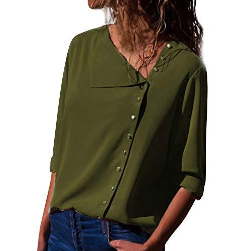 VEMOW Sommer Herbst Elegante Damen Frauen Casual Revers Neck T-Shirt Langarm Schnalle Casual Täglichen Geschäftsarbeit Lose Bluse Tops Pulli Tees(Grün, EU-50/CN-2XL)