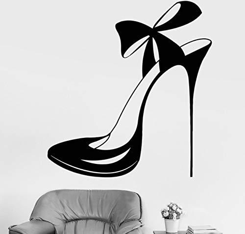 Schöne schuhe und bogen shop mode vinyl wandtattoos wohnkultur wohnzimmer wandbild entfernbare wandaufkleber 43x46cm