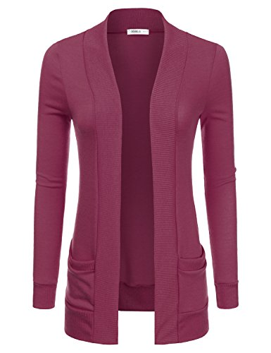 Doublju Lightweight Thin Open Front Cardigan For Women With Plus Size (Made In USA) MAGENTA 2XL