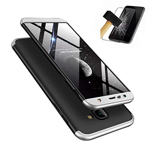 Samsung Galaxy J4 Plus hülle, DYGG Schutzhülle Ultra dünn Soft PC Hartgummi handyhülle Case Cover + Displayschutzfolie- Schwarz und Silber