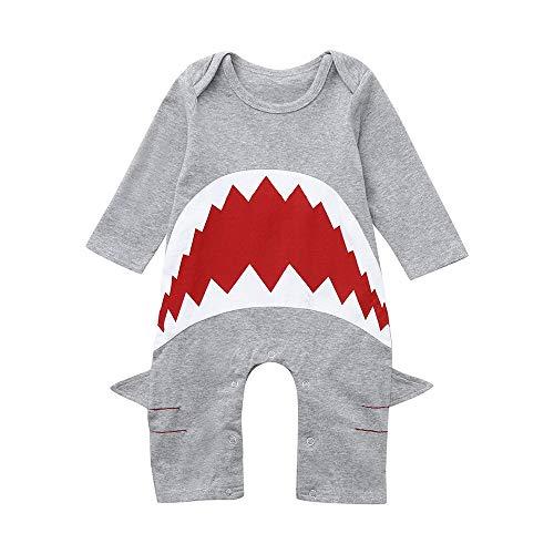 Dtuta FrüHling Und Sommer Baby Langarm 3D Hai Knopf Einfarbig Verbunden Komfortable Weiche Creeper Niedlich Lustige Einteiliges Kinderspielzeug Geburtstagsgeschenk