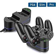 Base di Ricarica Doppio per Controller PS4,Stazione di Ricarica con Indicatore LED,Caricabatterie PS4 Funziona con Joypad, PlayStation 4, PS4 Slim e PS4 Pro