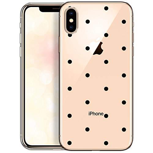 OOH!COLOR Handyhülle kompatibel mit iPhone X iPhone XS Hülle transparent mit Motiv Bumper Slim dünn Silikon Schutzhülle durchsichtig Case Schwarze Punkte (EINWEG)