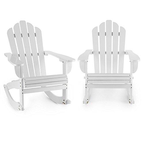 Blumfeldt Rushmore Schaukelstuhl Gartenstuhl 2er Set (max. 150 kg Belastung, geneigte Sitzfläche, hohe Rückenlehne, breite Armlehne, witterungsbeständig, Adirondack-Stil, Tannenholz) weiß