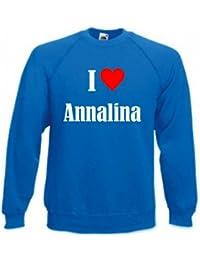 """Sweatshirt """"I Love Annalina"""" für Damen Herren und Kinder ... in den Farben Schwarz Weiss und Blau mit Aufdruck"""