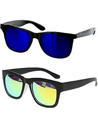 Younky Combo Of Uv Protected Branded Mercury Wayfarer Sunglasses For Men Women Boys & Girls ( Blue_Wayfarer-_Green_Wayfarer ) - 2 Sunglass Case