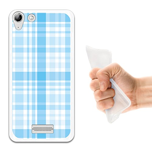 WoowCase Wiko Selfy 4G Hülle, Handyhülle Silikon für [ Wiko Selfy 4G ] Blauer glänzender Schottenkaro Druck Handytasche Handy Cover Case Schutzhülle Flexible TPU - Transparent
