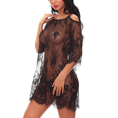 Damen Unterwäsche Leder Frauen Bademäntel ❤️Nachtkleid Nachthemd Wäsche Reißverschluss A Öffnen Brust Unterwäsche Charming Kleidung Babydoll -V-Ausschnitt Bodys Halfter S/M/L/XL/XXL (Schwarz, XXL)