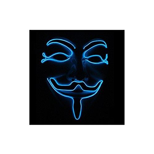 een Maske Glänzen Grimassen Kunststoff EL Lichtlinie Unisex Maske in Blau ()