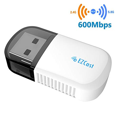 EZCAST Wireless WLAN USB-Adapter, Dual Band 5GHz Mini WiFi Dongle Bluetooth 4.2 600Mbps Netzwerk USB Adapter für PC Desktop Laptop, Unterstützung Windows XP/7/8/8.1/10, Mac OS 10.6 und höher