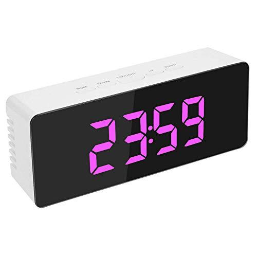 Sveglia specchio elettronico multifunzione sveglia specchio orologio digitale ricarica usb rosa 14x5,5x3,4 cm