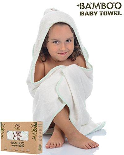 Baby Badehandtuch mit Kapuze |PekeBoo| Bio-Bambus extra weich und saugfähig - 75x75cm [500gsm] Baby Badehandtuch Set mit Freiem Waschlappen
