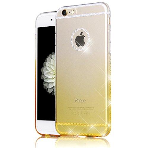 Custodia iPhone 6 , Cover iPhone 6S , Bonice Ultra trasparente Crystal Diamante Rhinestone TPU Silicone Gel Morbido Sottile Case Per iPhone 6 6S(4.7) -Oro