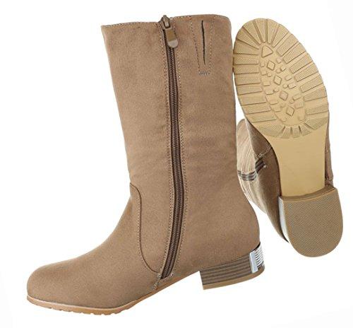 Damen Schuhe Stiefeletten Stiefel Strass Besetzte Schwarz Hellbraun