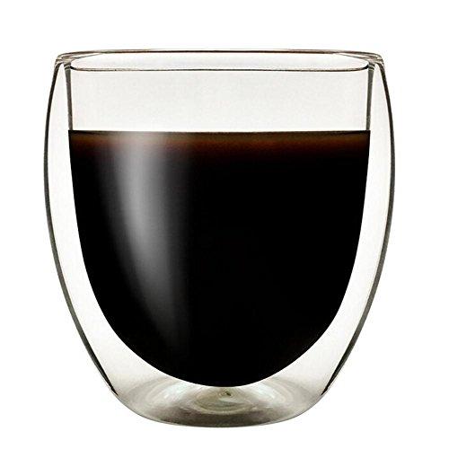 likeitwell Doppelwand isoliert Glas Tassen, | hitzebeständig Thermo Kaffee Tasse | Explosion Proof für heiße und kalte Getränke | Kaffee, Tee, ESPRESSO, Cappuccino, Latte | Zuhause, Büro, Küche, durchsichtig, 250 ml