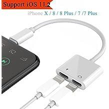 Adattatore Splitter e Lightning per iPhone X/8/8Plus/7 / 7Plus,Electro-Weideworld 2 in 1 Doppio Lightning Adapter Splitter Jack per la cuffia Audio & Charge Cavo e Call Support telefonico iOS 11.2 o successivo