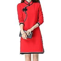 ALUK- Estilo chino - temperamento Retro Cheongsam de manga larga Slim Knit suéter vestido de punto ( Color : Rojo , Tamaño : XXL )