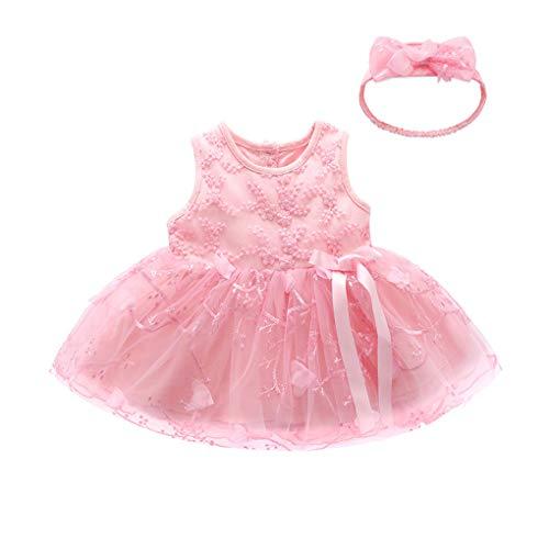 WUSIKY Sommerkleid Kinder Baby Mädchen Tutu Prinzessin Bowknot Ärmellos Blume Kleidung Dresss Elegante Lässige Mode Tutu Rock Minikleid Partykleid Kinder Geschenk(90,Rosa)
