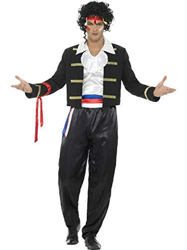 Boy George Kostüm Halloween - Halloweenia - Herren Männer 80er Jahre romantischer Musiker Adam Kostüm mit Hose, Jacket, Hemd und Harrschmuck, perfekt für Karneval, Fasching und Fastnacht, M, Schwarz