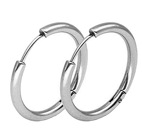 1 Paar Unisex Ohrstecker Titan Edelstahl Endless Hoop Ohrringe für Frauen Herren 2.5 * 14mm a (Supplies Tiny Titans Party)