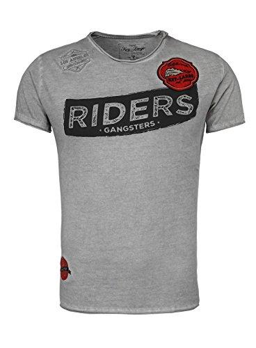 Key Largo Herren T-Shirt GANGSTER mit coolen Patches Rundhals Riders Los Angeles California Frontprint Grau