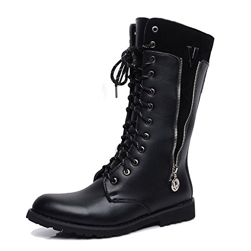 Mitte Kalb Casual Stiefel (Casual Suede Shoe Herren Schuhe Seitlicher Reißverschluss Lace Up Leder Oberen Mitte Kalb Kampf Martin Stiefel für Herren Herren Sneaker (Color : Fleece Inside Black, Größe : 8.5 UK))