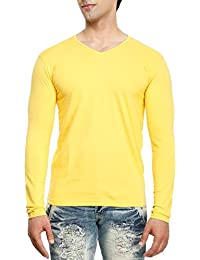 Tees Collection Men's V-Neck Full Sleeve Cotton T-shirt