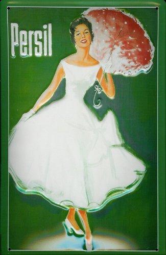 Blechschild Persil Frau mit Sonnenschirm grün Schild Waschpulver Werbung