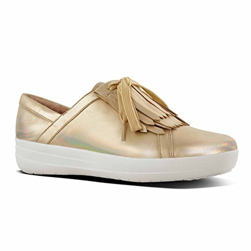 Fitflop F-Sporty II™ Ladies Leather Fringe Trainers Gold Iridescent