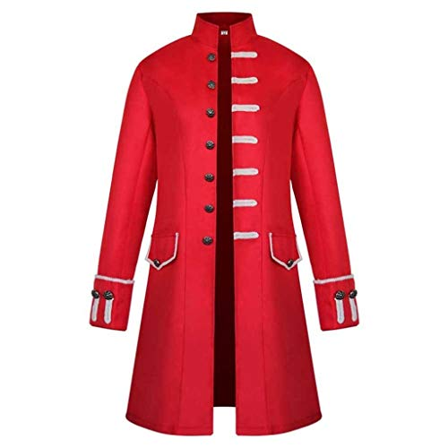 iYmitz Damen Herren Mantel Frack Jacke Gothic Gehrock Uniform Kostüm Praty Outwear (X2-rot,EU-3XL)
