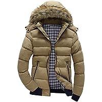 TWBB Männer Hoodie Daunenjacke Verdicken Winter Warm Wintercoat Mit Groß Kapuzen Pullover Farbe Patchwork Wintermantel Mit Reißverschluss Mantel Jacke