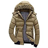 Xmiral Men Daunenjacke Casual Warme Kapuze Winter Patchwork Zipper Outwear Jacke (M,Khaki)