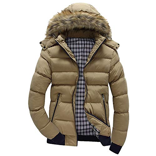Xmiral Men Daunenjacke Casual Warme Kapuze Winter Patchwork Zipper Outwear Jacke (XL,Khaki)
