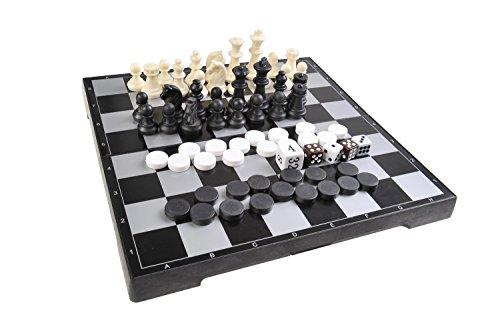 Quantum Abacus Juego de Mesa magnético 3-en-1 (tamaño estándar): Ajedrez, Damas, Backgammon - Piezas magnéticas, Tablero Plegable, 25cm x 25cm x 2cm, Mod. SC26810 (DE)