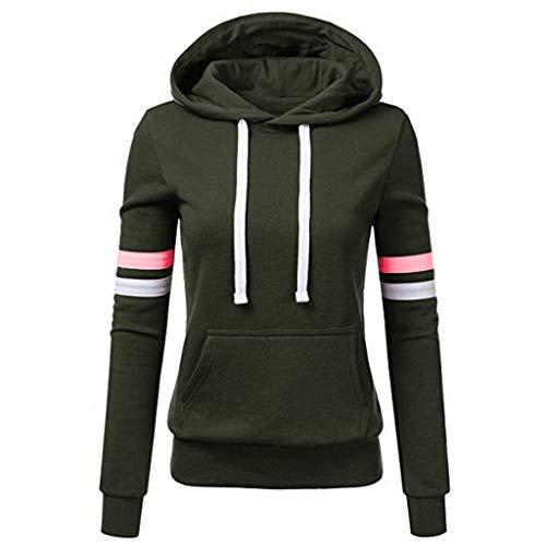 TOPKEAL Frauen Hoodie Pullover Damen Kapuzenpullover Streifen Sweatshirt Winterpullover Langarm Jacke mit Kapuze Tasche Mantel Tops Blouse Pulli (A_Grün, M)