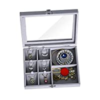 IvyH Velvet Glass Jewellery Ring Display Organiser Box Tray Holder Earrings Storage Case - L7.9 x W5.9 x H2 - A