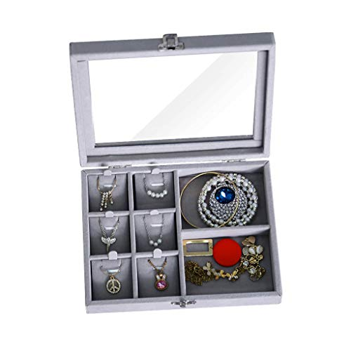 L7-box (IvyH Samt Glas Schmuck Ring Display Organizer Box Tray Holder Ohrringe Aufbewahrungskoffer - L7.9 x B5.9 x H2 - A)